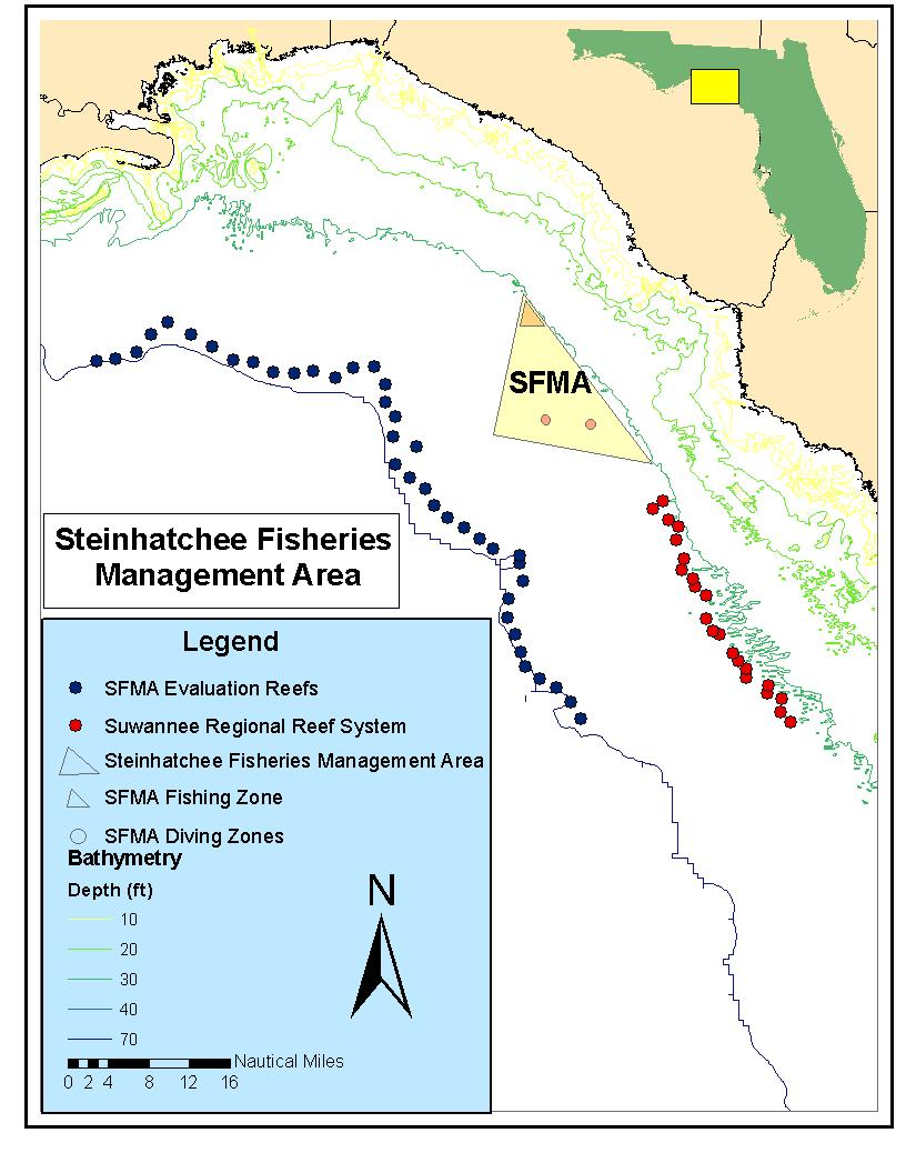 Map of reefs in the Steinhatchee Fisheries Management Area