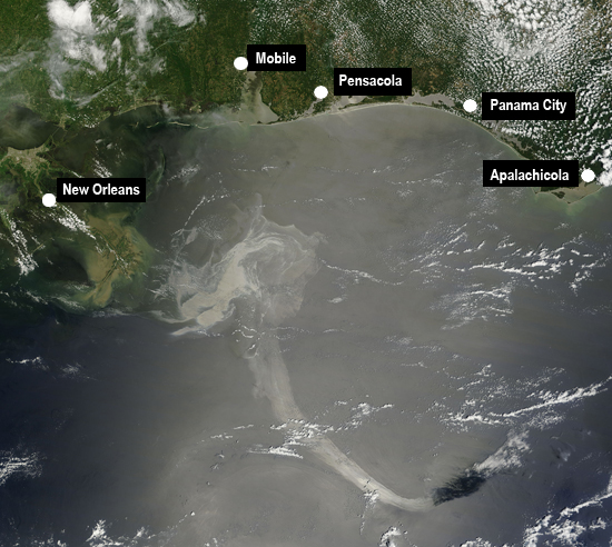 This image, posted by NASA on May 19, shows the increasing size of the Gulf oil spill.