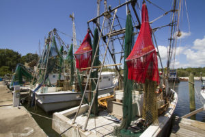 Commercial fishing boats, docked, with red and green nets.