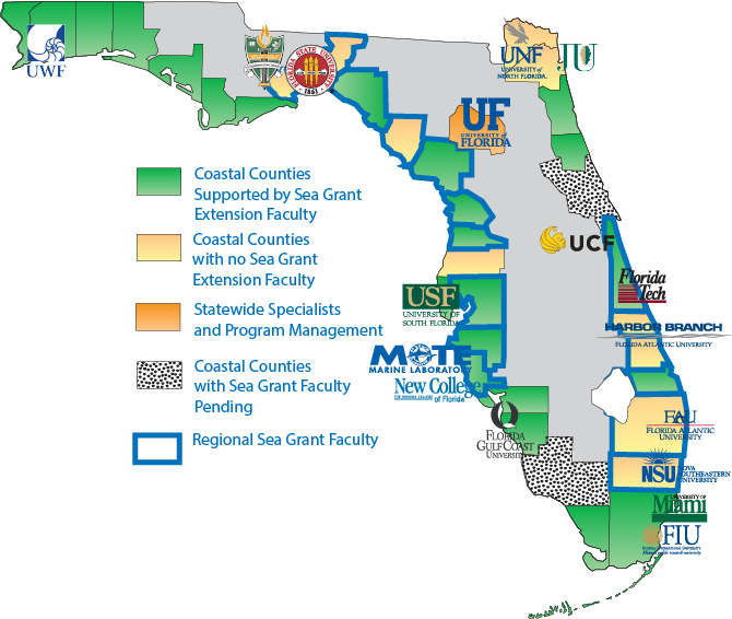 Florida Sea Grant Participating Institutions And Universities: Universities In Florida Map At Slyspyder.com