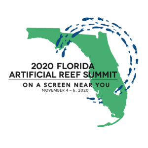 Image of Florida in green and title of summit. Circle of blue fish surrounds title.