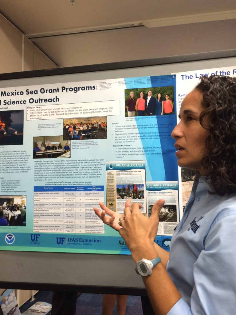 monica wilson presenting a poster at the 2015 Florida Sea Grant Coastal Science Symposium