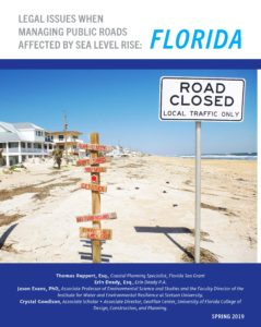 """Front page of Legal Issues When Managing Public Roads Affected by Sea Level Rise: Florida image of white beach and sign that says """"road closed"""""""