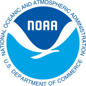 logo of the National Oceanic and Atmospheric Administration, dark blue on top and light blue on the bottom with white seagull
