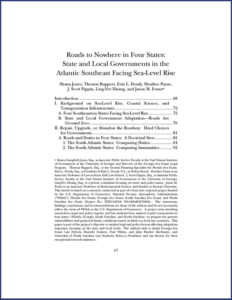 Front page of Roads to Nowhere in Four States: State and Local Governments in the Atlantic Southeast Facing Sea-Level Rise publication