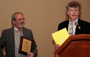 LeRoy Creswell (left) was presented the Meritorious Award plaque at the National Shellfish annual meeting in 2013.