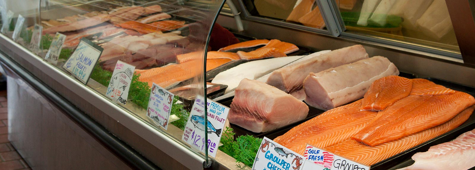 Fresh seafood in case at market
