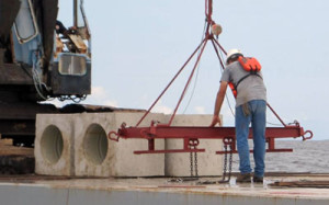 getting ready to deploy concrete cubes at buckeye reef site